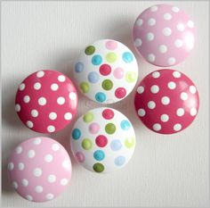 Hand Painted Knobs - Dresser Drawer - Mad for Polka Dots - Blue - Pink - Lime - Light Red - Drawer Pulls