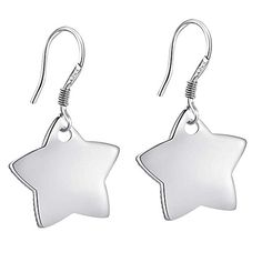 OUBEY Simple And Fashion Pentagram Silver Earrings For Women Silver Earrings -- Be sure to check out this awesome product. Note:It is Affiliate Link to Amazon.