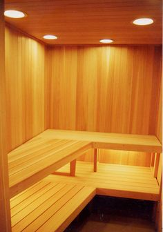 sauna with tapered bench layout