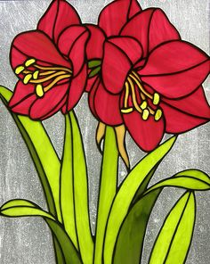 Hippeastrum glass panel by Elsbeth Morselt