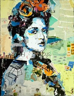 By the painter from New York Derek Gores who is best known for his ripped paper collage portraits, made using recycled magazine pages and other found parts.
