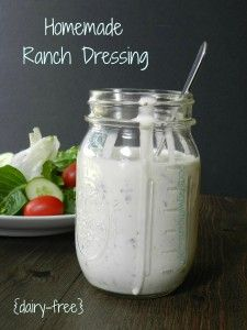 Homemade Ranch Dressing:Ingredients :coconut milk, apple cider vinegar, mayo, Italian parsley, green onions, white wine vinegar