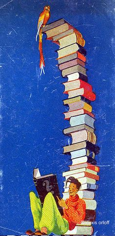 the book lover [Artist Unknown] posted by Alexis Orloff via flickr. Reader, Young Man, Book Stack, Parrot. Vintage Illustration.