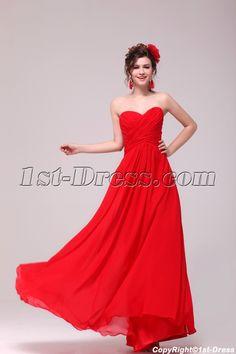 Sweet Red Chiffon Sweetheart Long Maternity Prom Party Dress:1st-dress.com