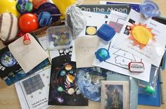 Montessori space unit for preschoolers from Counting Coconuts Montessori Science, Science Classroom, Teaching Science, Science Education, Science Activities, Space Activities, Montessori Education, Teaching Kids, Space Preschool