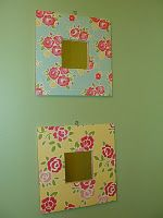 Ikea Malma mirrors with mod podge and scrapbook paper - $5 total