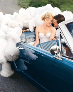 Brooke and Shea's California celebration featured various hues of blue, right down to the 1964 Ford Mustang getaway car.