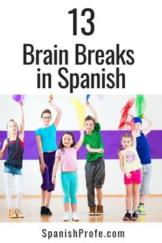 13 Brain Breaks in Spanish for your bilingual, dual language and Spanish immersion students. Great to use as an incentive, for indoor recess or to get moving for a few mins. during class. Great songs, movements and dances for brain breaks in Spanish. #spa