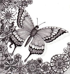 Flutter By Butterfly.  Beautiful and original whimsical abstract psychedelic Ink drawing illustration butterfly flowers. $65.00, via Etsy.