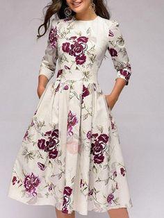 d4a60478c449 #AdoreWe TideBuy Womens - TideBuy - Round Neck Mid-Calf Pleated Pullover  Regular Womens. Eleganta KlänningarVintageklänningarAvslappnade ...