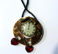 Wooden Clock Necklace by GrayStormCreations on Etsy, $12.00