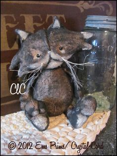 Primitive Black Cat Doll Country Decor