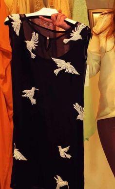 Black chiffon shirt with beautiful flying birds work Salwar Designs, Kurta Designs Women, Kurti Designs Party Wear, Blouse Designs, Indian Attire, Indian Wear, Indian Outfits, Kurti Embroidery Design, Embroidery Suits