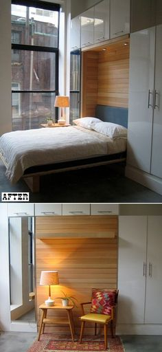 Murphy bed makeover via Design Sponge