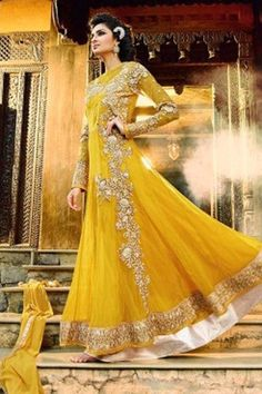 Yellow Georgette Designer Anarkali Suit