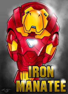 Iron Manatee. Killing me with cuteness who wants to bet it is the Robert downey Jr of manatees in that suit.