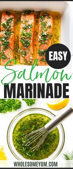 The BEST salmon marinade recipe, made with 6 simple ingredients! Use this healthy, easy salmon marinade for baked, pan seared, or grilled salmon. #wholesomeyum