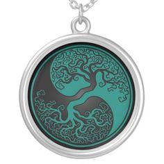 Tree of Life Tattoo yin yang | Teal Blue and Black Tree of Life Yin Yang Pendant