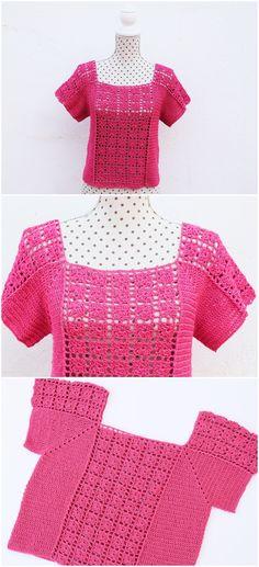 Crochet Summer Tops, Crochet Tops, Knit Crochet, Sari Blouse Designs, Crochet Woman, Crochet Toys Patterns, Crochet Ideas, Crochet Blouse, Crochet Clothes