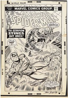Gil Kane and John Romita Sr. Amazing Spider-Man Cover Original Art (Marvel, Two of Spider-Man's - Available at 2009 May Signature Comics &. Comic Book Pages, Comic Book Artists, Comic Book Covers, Comic Artist, Comic Books Art, Bd Comics, Spiderman Art, Classic Comics, Amazing Spider