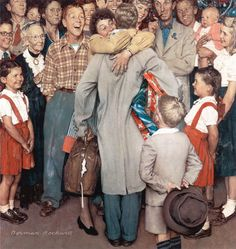 """""""Cristmas Home Coming"""" 1948 / Person who is wearing a blue shirt is the author"""