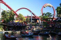 action : global village's fastest roller coasters DAEMONEN , TIVOLI GARDENS , COPENHAGEN , DENMARK