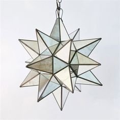 """Moravian Star 12"""" Pendant Chandelier Small Antique Mirror by Worlds Away AMS110, like this but slightly smaller for front entry!"""