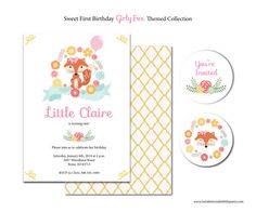 Girly Fox Theme Printable Invitation by twinklelittleparty on Etsy