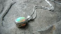 Ethiopian Opal Necklace White Opal Necklace Welo by CaravanOfBeads, $225.00