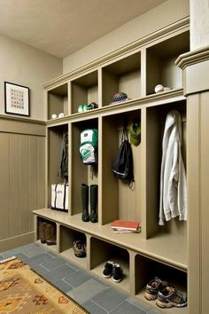 Kitchen cabinets can extend into your mud room to make the most out of this small space. If you have children, what better that to add mini lockers and storage to keep your family organized! We like to help make that morning rush to school and work as simple as possible for our clients!