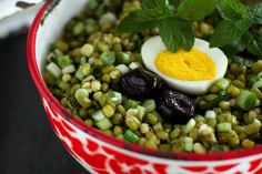 Mung Bean Salad - I actually like this a lot for breakfast. Make a full batch, make hard boiled eggs ahead of time. Peel and keep in the fridge. When ready, microwave 1 minutes the salad, cut egg in half and put on top. After not too long the egg will be warm with the salad