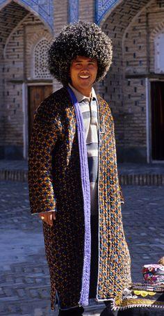 Uzbekistan, Khiva, Man in Padded Chapan and Woollen Telpek