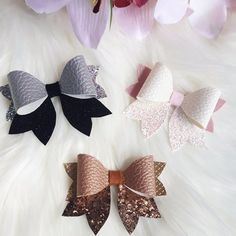 Leather Glitter Bows