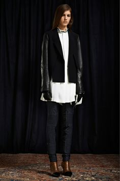 3.1 Phillip Lim Contrast Jacket Sleeves, Navy Blue and Black, Moto Pants, White For Fall