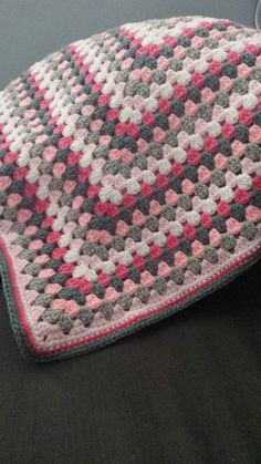 Beautiful baby or toddler blanket. Handmade of soft yarn in a smoke and pet free environment. Measures approximately 36 x 36. Reversible sides;