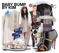 Baby bump by Kim - shopthemagazine.com #KimKardashian #BabyBump #mum-to-be #maxidress