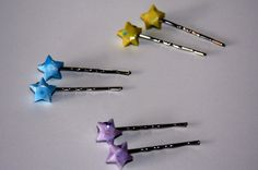So THAT'S what I can do with my paper stars!  Origami Lucky Star Bobby Pins by meligami on Etsy, $6.00