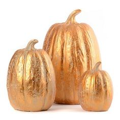 These dazzling Metallic Pumpkins are finished in a luminous antiqued bronze! Repin if you would love to put these on shelves in your home! #kirklands #harvest