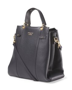 Made In Italy Leather Triple Entry Satchel