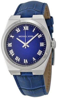 Michael Kors Dames Horloge met leder riem Blauw