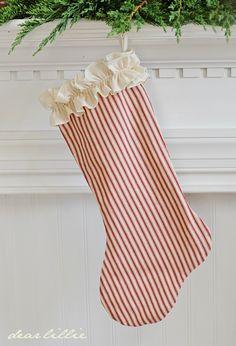 Red & cream ticking stocking