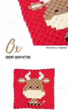 Free crochet pattern: Zoodiacs Ox in c2c (corner to corner) crochet by One Dog Woof