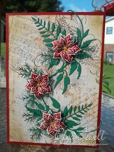 Heartfelt Creations Poinsettias using Spellbinders layered poinsettia die