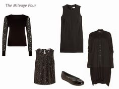 """The Vivienne Files / An """"All-Black"""" Wardrobe Two tops gives you a dozen more outfits, if you remember to layer your sleeveless top under your cashmere cardigan...  Plus, you have two dresses to work with, also!"""