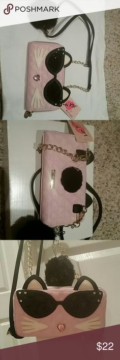 Crossbody Purse NWT Betsey Johnson mini pink glitter crossbody Purse. Sassy cat! Betsey Johnson Bags Crossbody Bags