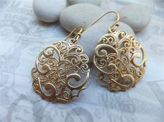 Gold Plated Swirl Filligree Earrings available in my shop at www.madeit.com.au/kapalau
