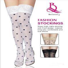 4dd1a935fd7 Black Spots Sexy Women Thin Thigh High Silk Stocking White Female stockings  Thick Slim Show Thin Leg Shaper Fat Tights