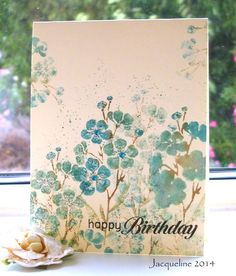 """By Jacqueline de Groot Wood. Ink Hero Arts """"Flowers on a Stem"""" with distress markers: peacock feathers, iced spruce and evergreen bough; spray lightly with water; stamp repeatedly, only renewing the ink once. Handmade Birthday Cards, Happy Birthday Cards, Greeting Cards Handmade, Birthday Wishes, Cool Cards, Diy Cards, Hero Arts, Tampons, Watercolor Cards"""