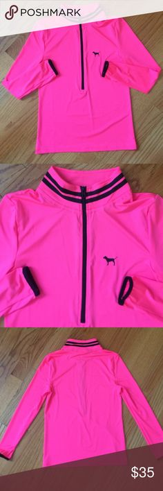 PINK Ultimate yoga zip NWOT PINK Victoria's secret neon pink yoga half zip. Super cute in mint condition extremely soft , lightweight, and feathery. No trades please! PINK Victoria's Secret Tops Sweatshirts & Hoodies