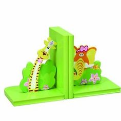 Wooden Safari / Jungle Animals Bookends Great for Kids or Nursery Decor